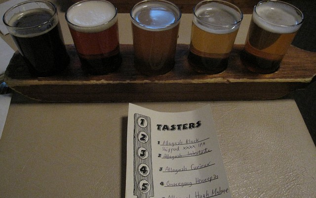 This flight of craft beers is a pun on the five essential drafts of writing.